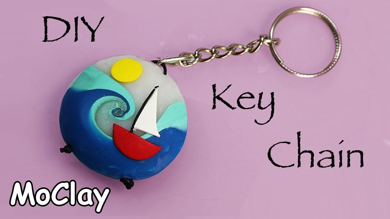 Diy Key chain with a swirl summer bead -Polymer clay tutorial