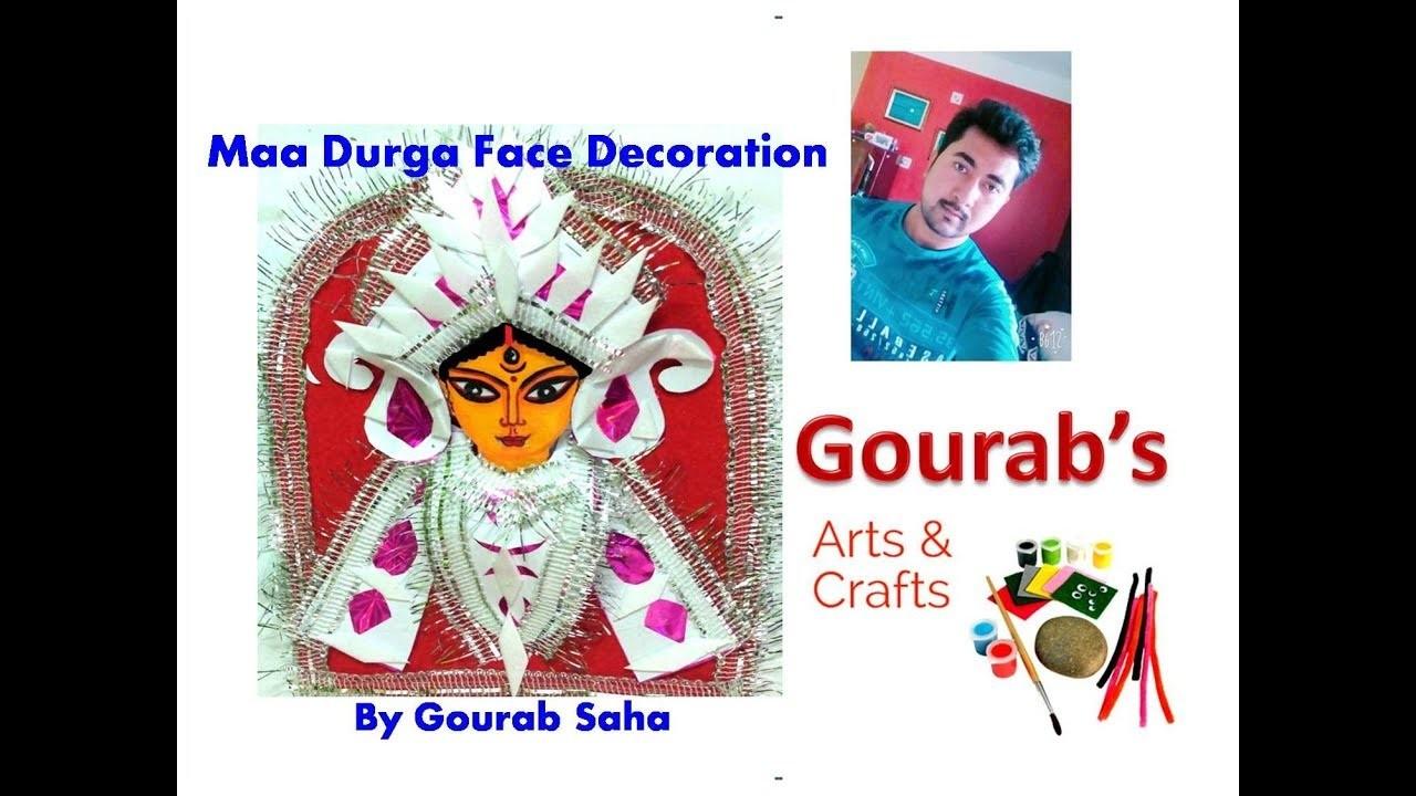 DIY Maa Durga Face Decoration At Home With Paper || Navratri Decoration || Durga Puja || Devi Durga