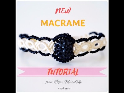 DIY macrame jewelry tutorial. How to make easy black and white macrame bracelet with a bead