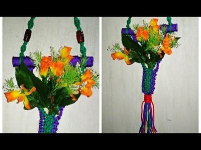 DIY macrame wall hanger || wall hanging flower pot