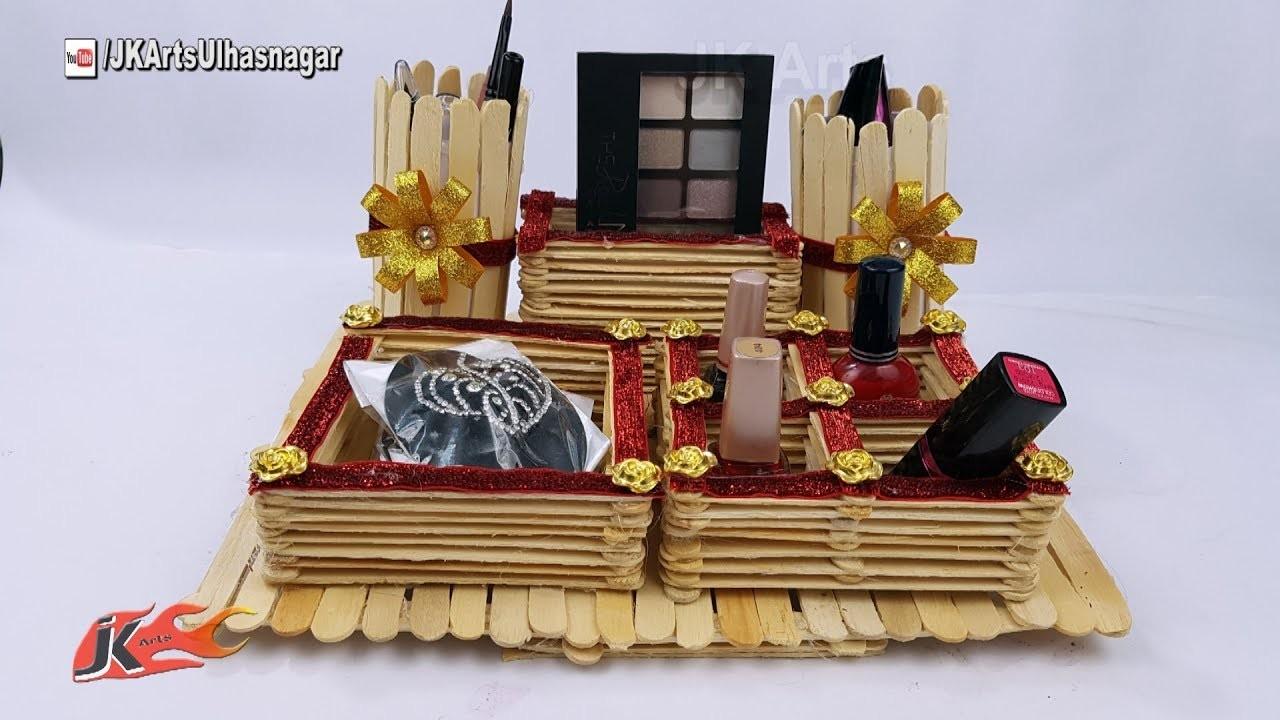 DIY Makeup Storage with Icecream sticks | How to make Desk Organizer | JK Arts 1270