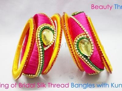 DIY | Making of Bridal Silk Thread Bangles with Kundans | New Design | Tutorial