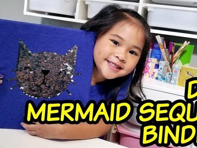 DIY Mermaid Sequin Binder | Reversible Sequin Binder Cover Tutorial | Back to School Crafts