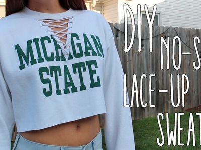 DIY   No-Sew Lace Up Crop Sweater