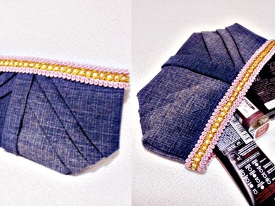 DIY No Sew Pleated Pouch Out of Old Jeans