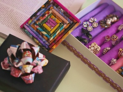 DIY Old Magazine Paper Crafts - Coaster, Gift Bow, Accessories Holder | Best Out Of Waste Ideas