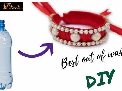 DIY Recycled Bottle Bracelet : How to make bracelet from old plastic bottles at home