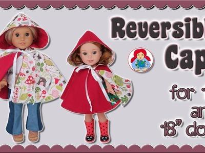 "DIY   Reversible Cape for 14"" & 18"" dolls • Sami Dolls Tutorials"