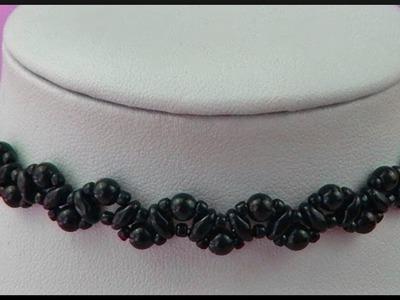 DIY | Schwarze Perlen Gothic vintage Kette | Beaded black choker. necklace | Beadwork jewelry