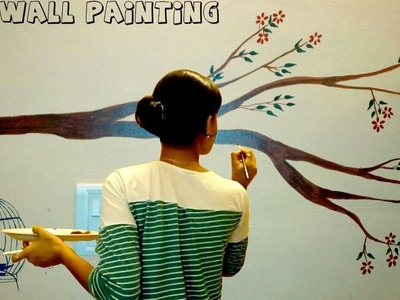 DIY simple tree wall painting for any room |wall painting tutorial 2017| How to paint tree on wall.
