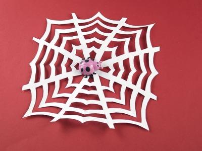 DIY Spider web of paper (Cobweb) for Halloween etc. (Decor, decoration for room) Tutorial