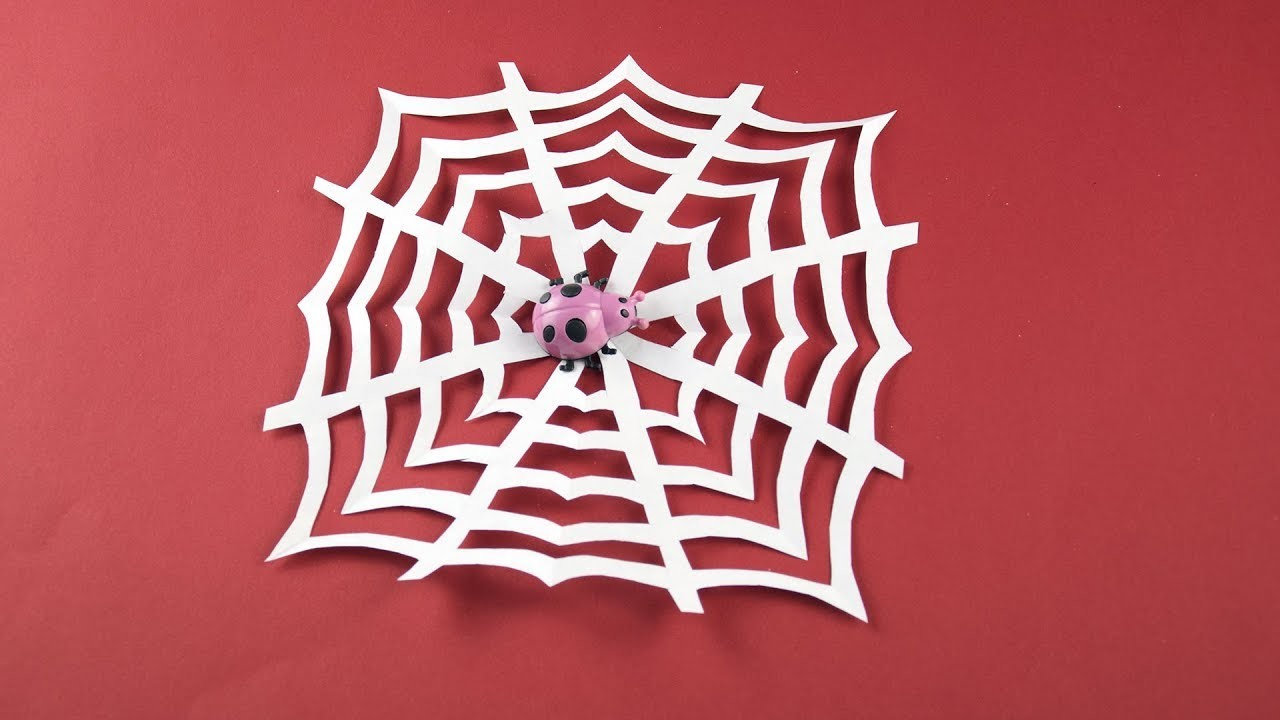 DIY Spider web of paper (Cobweb) for Halloween etc. (Decor, decoration for room) Tutorial