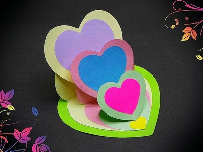 DIY - TRIPLE HEART EASEL CARD - TUTORIAL. DIY CARDS