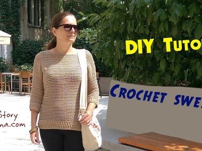 DIY Tutorial - Crochet women's sweater with long sleeves (Heklani džemper)