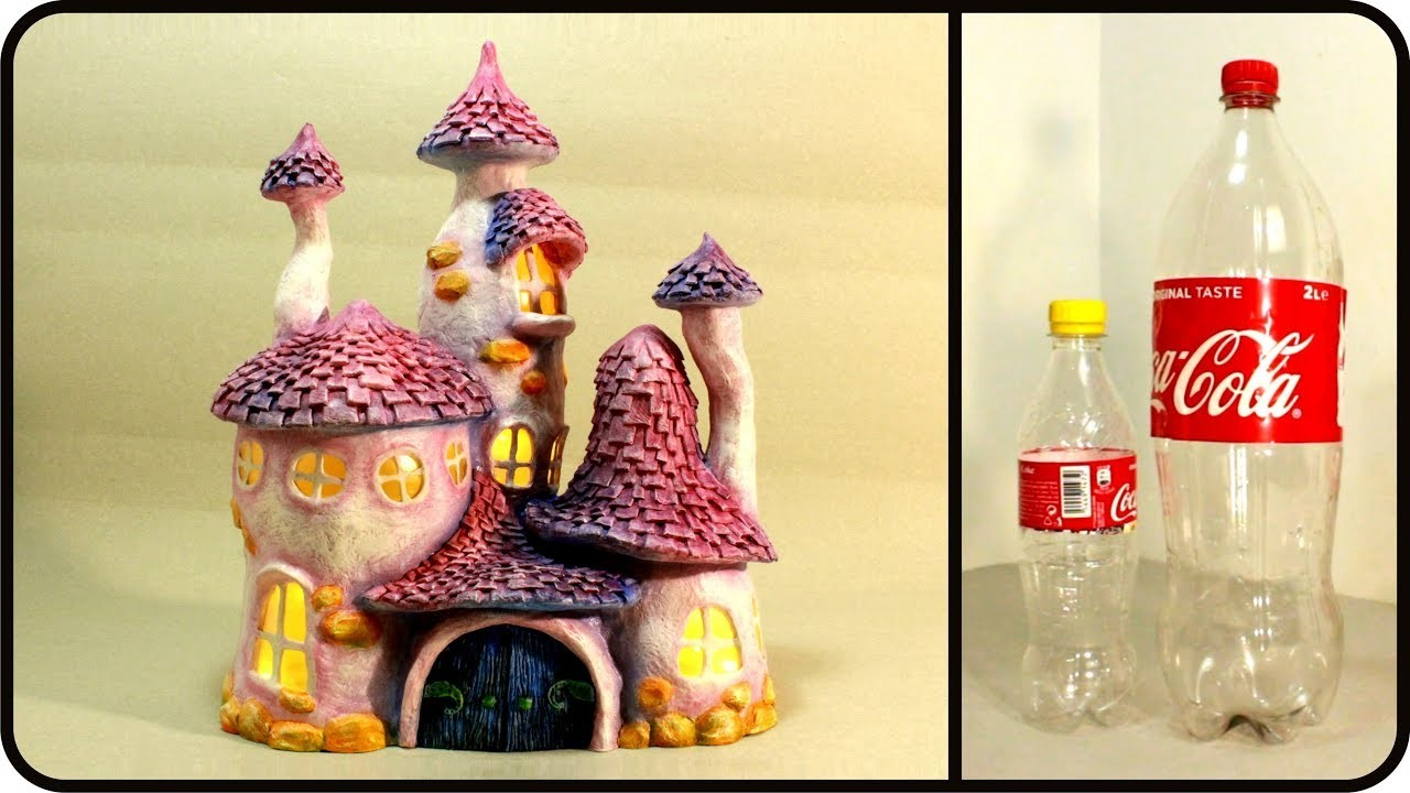 Diy whimsy fairy house lamp using coke plastic bottles for Creative use of plastic bottles