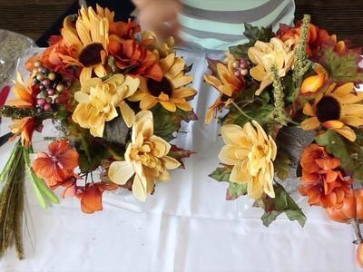 DOLLAR TREE DIY FALL CENTERPIECE . Easy Autumn Centerpiece Under $20.00