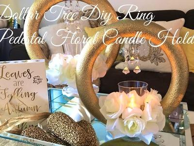 Dollar Tree Diy Ring Pedetals Floral Candle Holder(NO GLUE DIY????)