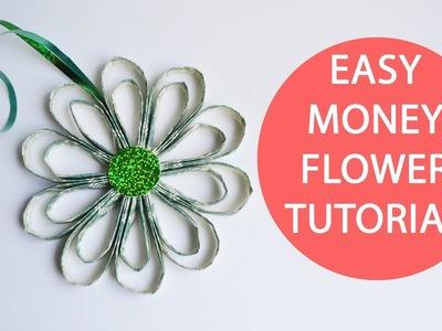 Easy Money Air Flower Folded Origami Dollar No glue Tutorial DIY