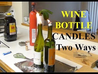 Emergency Hurricane Wine Bottle Candle Two Ways DIY Tutorial Kerosene Oil Lamp