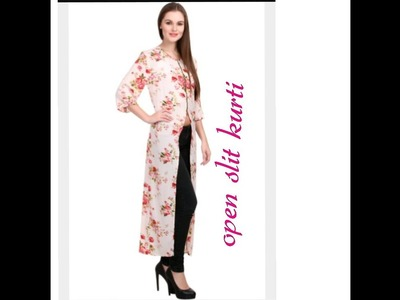 Front open slit kurti with piping.€asy DIY
