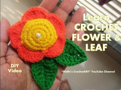 How to Crochet 3D Flower and Leaf - DIY Video Tutorial in Hindi English