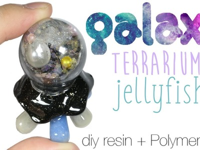 How to DIY Glitter Galaxy Terrarium Dome Jellyfish Resin.Polymer Clay Tutorial