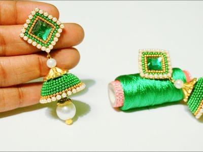 How To Make Beautiful Silk Thread Earrings   DIY   Silk Thread Jhumkhas   Paper Earrings Making