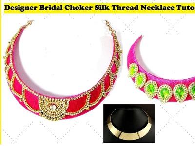 How To Make Bridal Necklace   Choker   DIY Tutorial   Metal.Cardboard Base at home