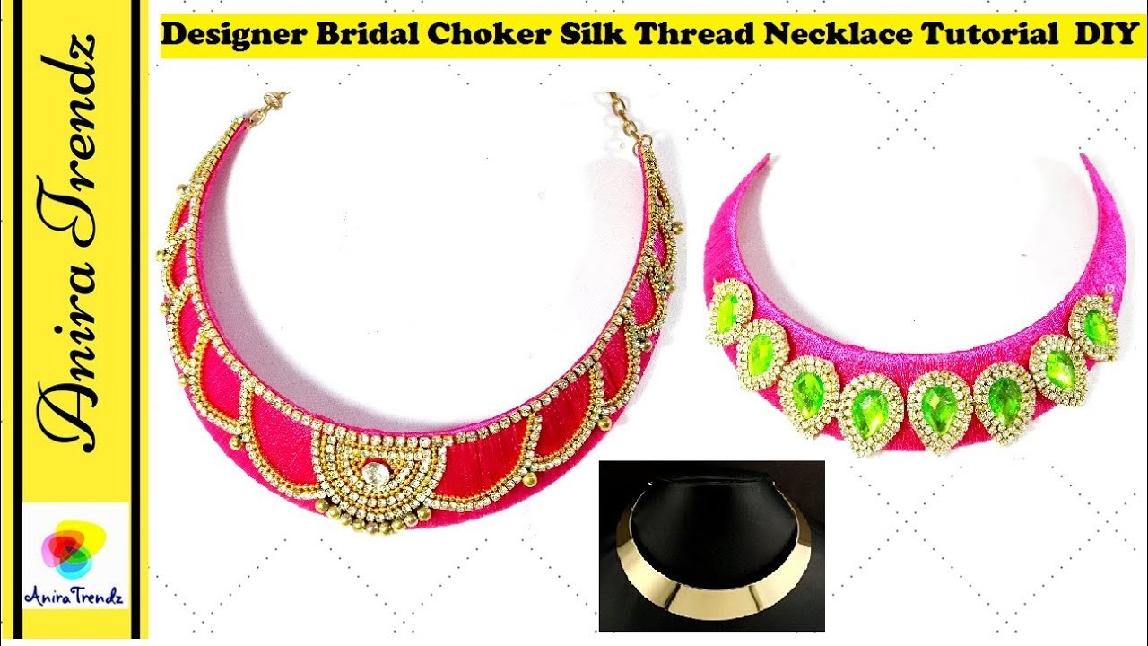 How To Make Bridal Necklace | Choker | DIY Tutorial | Metal.Cardboard Base at home