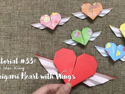 How to Make DIY Origami Heart with Wings?   The Idea King Tutorial #33