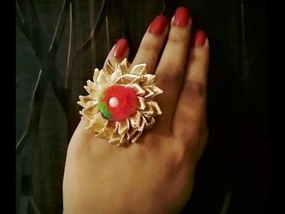 How to make gota jewellery   diy rings   handmade rings\navratry special jwellery