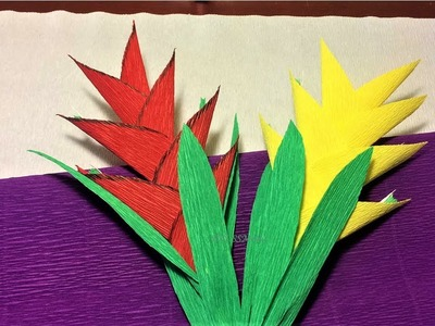 How to make heliconia flower with Paper| diy origami  heliconia flower making tutorials