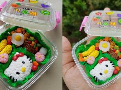 How to make Miniature Japanese Bento (Lunch box) Tutorial.DIY Hello kitty Bento