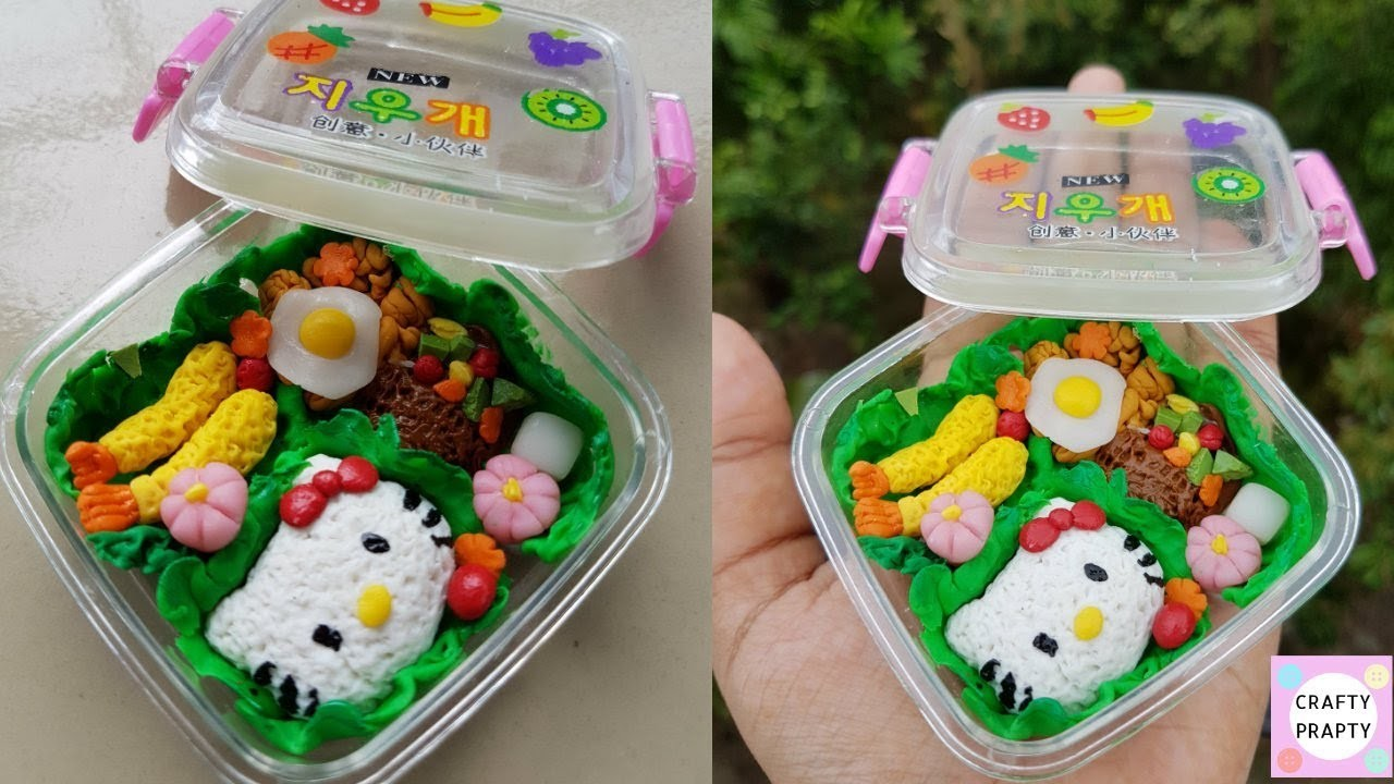 how to make miniature japanese bento lunch box tutorial diy hello kitty bento my crafts and diy. Black Bedroom Furniture Sets. Home Design Ideas