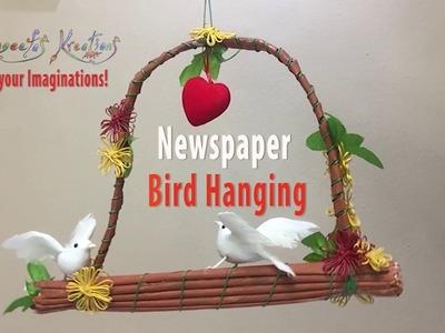 How to make Newspaper Bird Hanging. DIY. Home Decor. sangeetas kreations