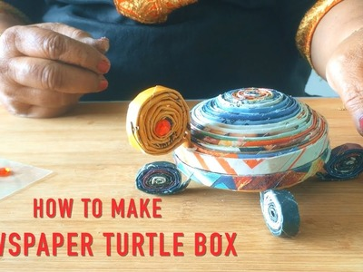 How To Make Newspaper Turtle Box | DIY