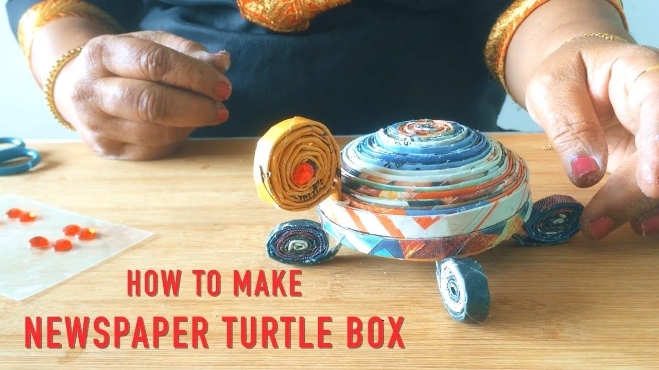 How To Make Newspaper Turtle Box   DIY