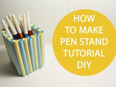 How to make Pen Stand Origami Paper Tutorial DIY