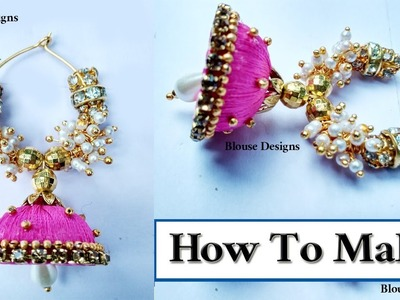 How to make silk thread jhumka hoop earrings at home DIY  Easy hoop earrings Tutorials