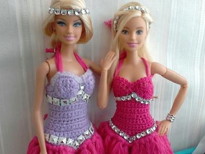 Manualidad *crochet * video 3 de 3. Vestido para muñecas barbie ???? crochet dress for barbie dolls