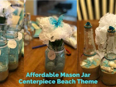 Mason Jar Beach Theme DIY. Centro de mesa mar