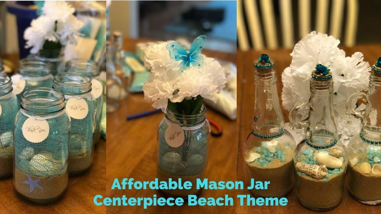 Mason Jar Beach Theme DIY. Centro de mesa mar