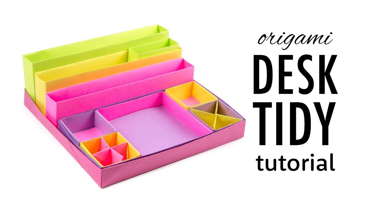 Origami Desk Organizer Boxes Tutorial DIY Paper