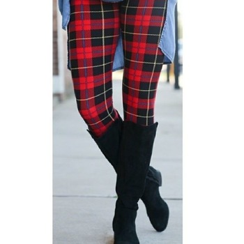 ONE Size Red Black Fall Plaid Leggings