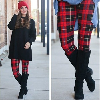 PLUS Size Red Black Plaid Fall Leggings Butter Soft