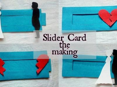 Slider card | DIY tutorial | simple and easy| Slider love card | Slider bride and groom card|