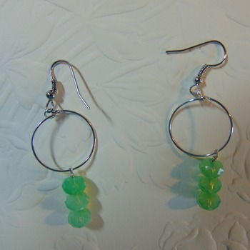 Triple Green Rondelles Dangles