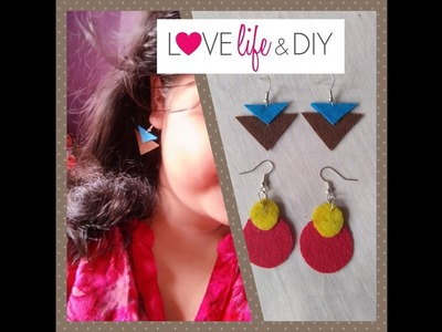 Tutorial to make attractive felt earrings(DIY)