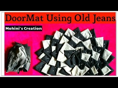 #6 How to make Door mat, Carpet, rugs, table carpet using Old jeans  Waste old jeans recycle 