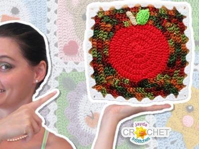 Apple Blanket Square - Crochet Motif - September